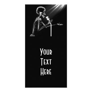 X-RAY SKELETON SINGING ON RETRO MIC - B&W PERSONALIZED PHOTO CARD