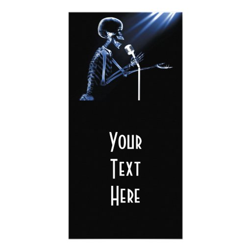 X-RAY SKELETON SINGING ON RETRO MIC - BLUE CUSTOMIZED PHOTO CARD