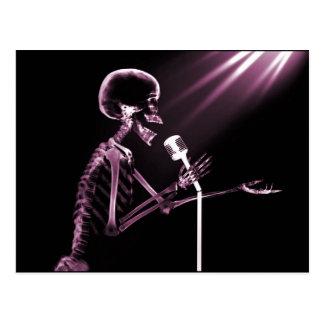 X-RAY SKELETON SINGING ON RETRO MIC - PINK POSTCARD