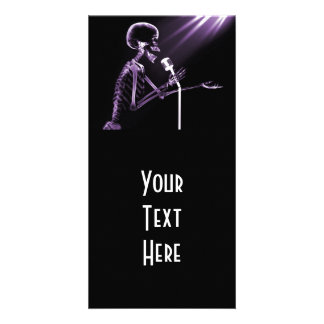 X-RAY SKELETON SINGING ON RETRO MIC - PURPLE PHOTO CARD TEMPLATE