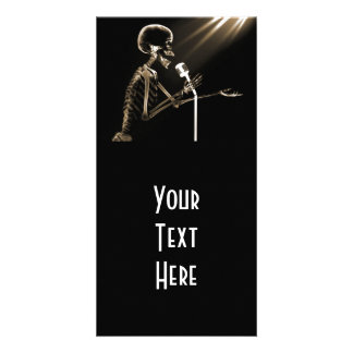 X-RAY SKELETON SINGING ON RETRO MIC - SEPIA CUSTOM PHOTO CARD