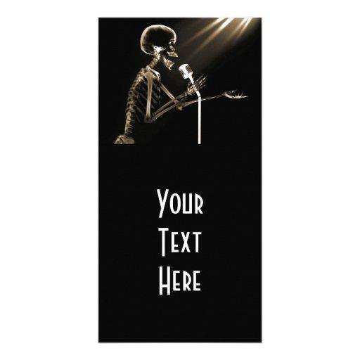 X-RAY SKELETON SINGING ON RETRO MIC - SEPIA PHOTO CARD TEMPLATE