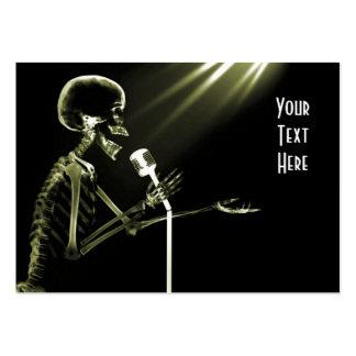 X-RAY SKELETON SINGING ON RETRO MIC - YELLOW BUSINESS CARD TEMPLATES