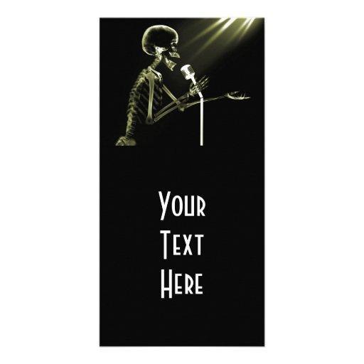 X-RAY SKELETON SINGING ON RETRO MIC - YELLOW CUSTOM PHOTO CARD