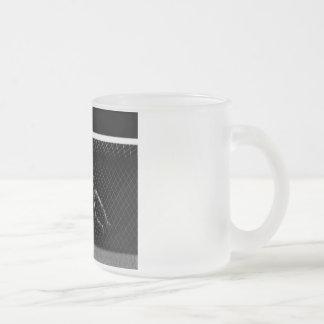 X-RAY SKELETON SOCCER GOALIE B&W FROSTED GLASS COFFEE MUG