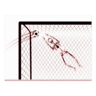 X-RAY SKELETON SOCCER GOALIE - RED POSTCARD
