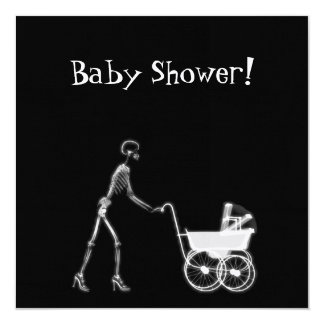 X-RAY SKELETON WOMAN & BABY CARRIAGE - B&W 13 CM X 13 CM SQUARE INVITATION CARD
