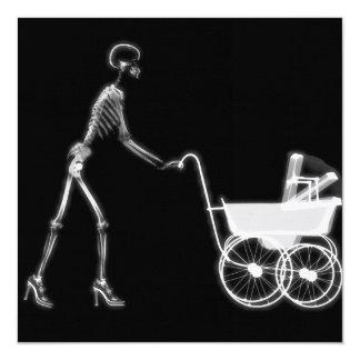 X-RAY SKELETON WOMAN & BABY CARRIAGE - B&W 13 CM X 13 CM SQUARE INVITATION CARD