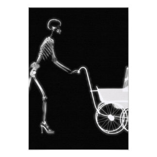 X-RAY SKELETON WOMAN & BABY CARRIAGE - B&W PERSONALIZED INVITES