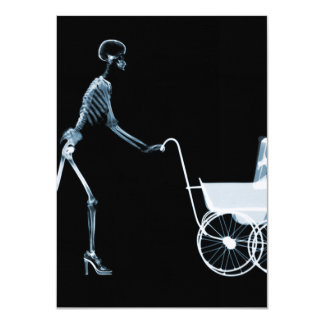 X-RAY SKELETON WOMAN & BABY CARRIAGE - BLUE 11 CM X 16 CM INVITATION CARD