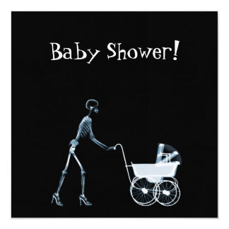 X-RAY SKELETON WOMAN & BABY CARRIAGE - BLUE 13 CM X 13 CM SQUARE INVITATION CARD