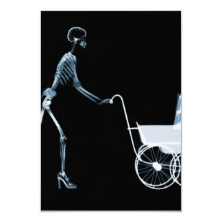 X-RAY SKELETON WOMAN & BABY CARRIAGE - BLUE 9 CM X 13 CM INVITATION CARD