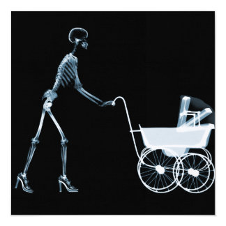 X-RAY SKELETON WOMAN & BABY CARRIAGE - BLUE 5.25X5.25 SQUARE PAPER INVITATION CARD