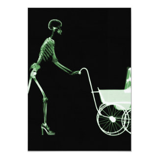 X-RAY SKELETON WOMAN & BABY CARRIAGE - GREEN 11 CM X 16 CM INVITATION CARD