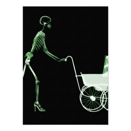 X-RAY SKELETON WOMAN & BABY CARRIAGE - GREEN PERSONALIZED ANNOUNCEMENTS