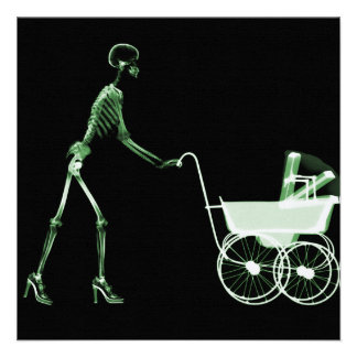 X-RAY SKELETON WOMAN BABY CARRIAGE - GREEN PERSONALIZED ANNOUNCEMENTS