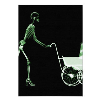 X-RAY SKELETON WOMAN BABY CARRIAGE - GREEN INVITATION