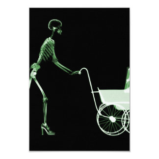 X-RAY SKELETON WOMAN & BABY CARRIAGE - GREEN 9 CM X 13 CM INVITATION CARD