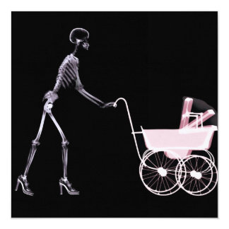 X-RAY SKELETON WOMAN & BABY CARRIAGE - PINK 13 CM X 13 CM SQUARE INVITATION CARD