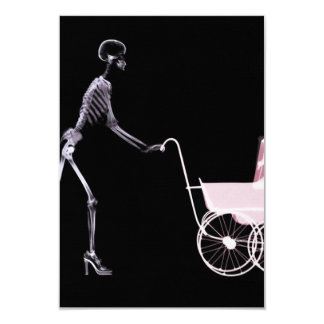 X-RAY SKELETON WOMAN & BABY CARRIAGE - PINK 9 CM X 13 CM INVITATION CARD