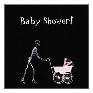 X-RAY SKELETON WOMAN BABY CARRIAGE - PINK ANNOUNCEMENTS
