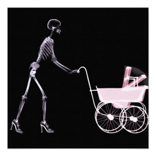 X-RAY SKELETON WOMAN & BABY CARRIAGE - PINK ANNOUNCEMENTS