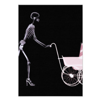 X-RAY SKELETON WOMAN BABY CARRIAGE - PINK INVITATIONS