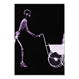 X-RAY SKELETON WOMAN & BABY CARRIAGE - PURPLE 9 CM X 13 CM INVITATION CARD
