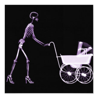 X-RAY SKELETON WOMAN & BABY CARRIAGE - PURPLE 5.25X5.25 SQUARE PAPER INVITATION CARD