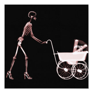 X-RAY SKELETON WOMAN & BABY CARRIAGE - RED 13 CM X 13 CM SQUARE INVITATION CARD