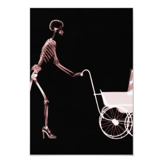X-RAY SKELETON WOMAN & BABY CARRIAGE - RED 9 CM X 13 CM INVITATION CARD