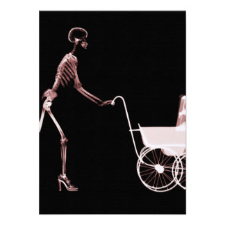 X-RAY SKELETON WOMAN & BABY CARRIAGE - RED PERSONALIZED ANNOUNCEMENTS