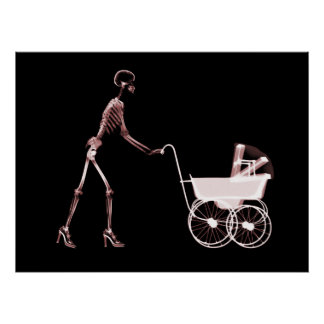 X-RAY SKELETON WOMAN & BABY CARRIAGE - RED POSTER