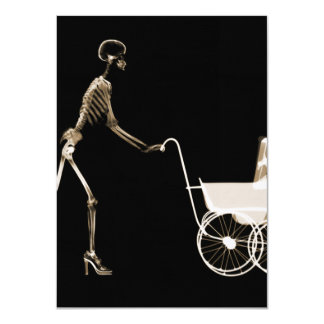 X-RAY SKELETON WOMAN & BABY CARRIAGE - SEPIA 11 CM X 16 CM INVITATION CARD