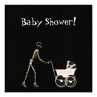 """X-RAY SKELETON WOMAN & BABY CARRIAGE - SEPIA 5.25"""" SQUARE INVITATION CARD"""