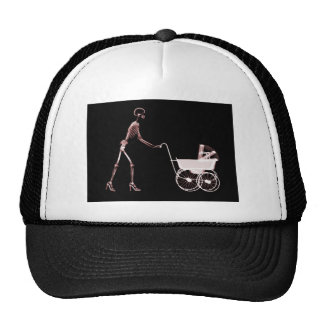 X-RAY SKELETON WOMAN CARRIAGE - RED CAP