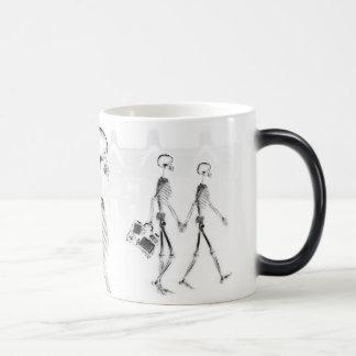 X-Ray Skeletons Afternoon Stroll Neg BW Magic Mug