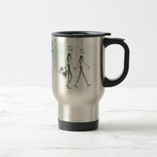 X-Ray Skeletons Afternoon Stroll Negative White Travel Mug