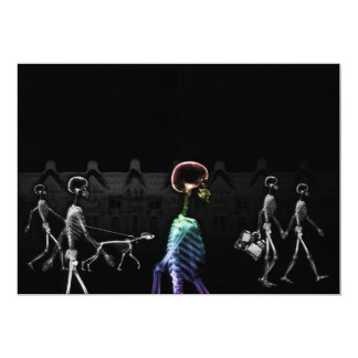 X-Ray Skeletons Midnight Stroll - B&W & Rainbow 13 Cm X 18 Cm Invitation Card