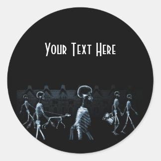 X-Ray Skeletons Midnight Stroll Black Blue Round Sticker
