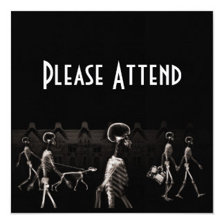 X-Ray Skeletons Midnight Stroll Black Sepia 5.25x5.25 Square Paper Invitation Card