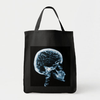 X-RAY SKULL BRAIN - BLUE TOTE BAG