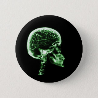 X-RAY SKULL BRAIN - GREEN 6 CM ROUND BADGE