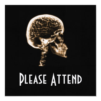 X-RAY SKULL BRAIN - ORANGE 13 CM X 13 CM SQUARE INVITATION CARD