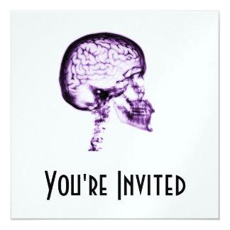 """X-RAY SKULL BRAIN - PURPLE 5.25"""" SQUARE INVITATION CARD"""