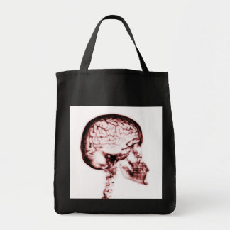 X-RAY SKULL BRAIN - RED CANVAS BAGS
