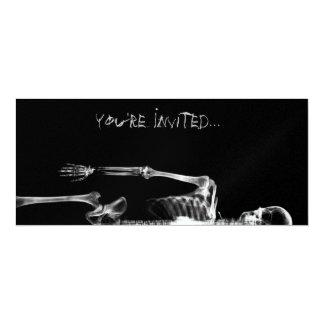 "X-Ray Vision B&W Single Skeleton Invites 4"" X 9.25"" Invitation Card"