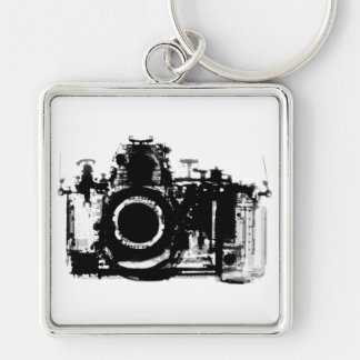 X-RAY VISION CAMERA - BLACK & WHITE Silver-Colored SQUARE KEY RING