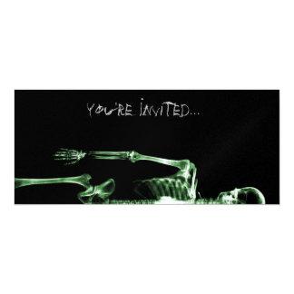 "X-Ray Vision Green Single Skeleton Invites 4"" X 9.25"" Invitation Card"
