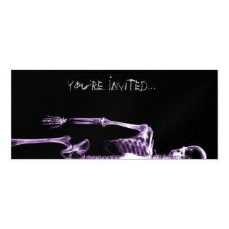 "X-Ray Vision Purple Single Skeleton Invites 4"" X 9.25"" Invitation Card"